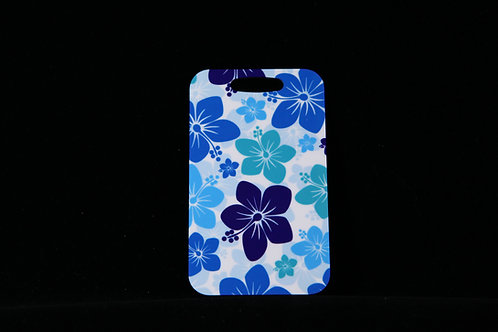 """Blue and White Hibiscus Aluminum Bag Tag w/Loop 