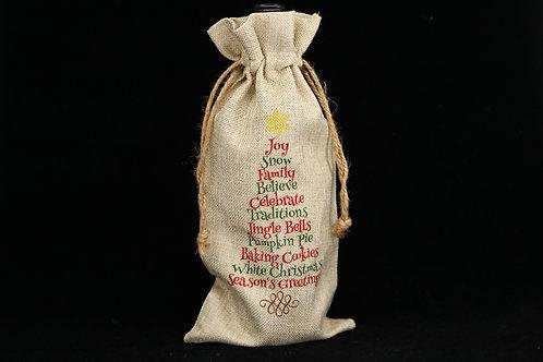 "Christmas Tree Joy | Faux Burlap Drawstring Wine Bottle Gift Bag | 6.5"" x 13"""