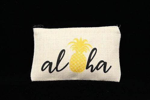 "Pineapple Aloha || Small Linen Zippered Pouch - 3.5"" x 6"""