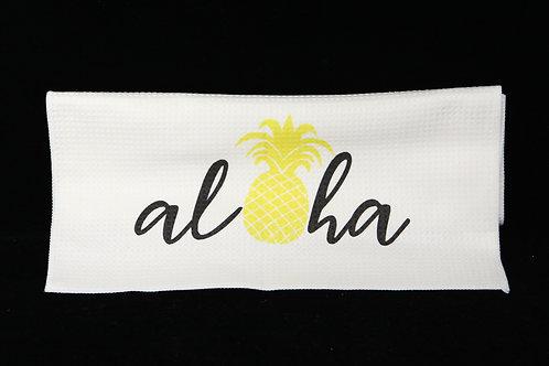 """Aloha Pineapple Waffle Weave Towel - White - 15.5"""" x  23.5"""""""