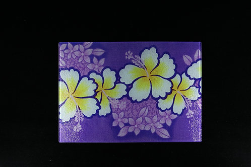 """Purple and Yellow Hibiscus Flower Glass Cutting Board - Small - 11"""" x 8"""""""