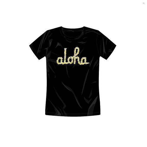 IN4MATION X Aloha Army Womens - Plumeria Script Tee - Black