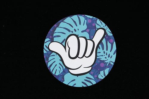 "Shaka Hand Monstera Leaves - Jar Opener - 5""Round - Black Backing"