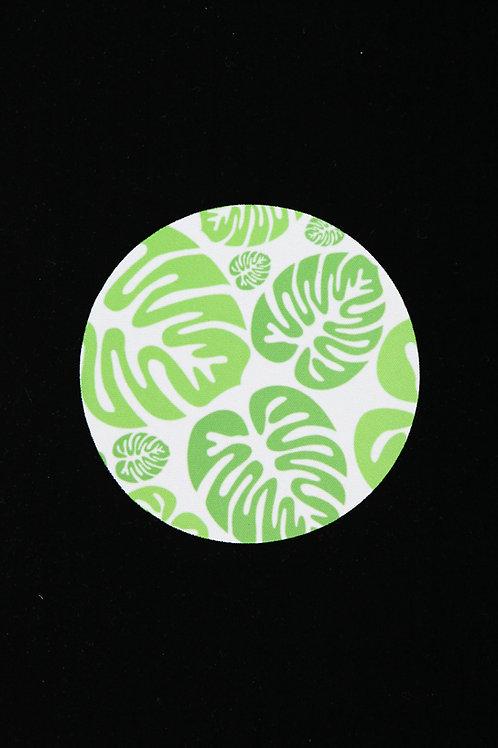 """Green Tropical Monstera Leaves - Jar Opener - 5""""Round - Black B"""