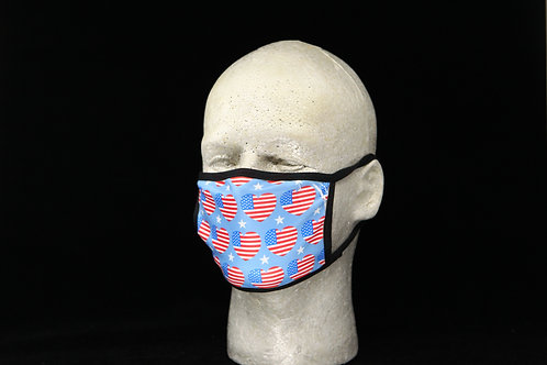 USA Flag Hearts Pattern || 2-Layer Face Mask Adult Unisex with Filter Pocket