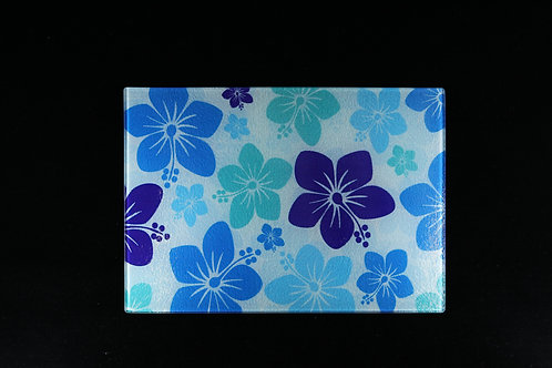 """Blue and White Hibiscus Flower Glass Cutting Board - Small - 11"""" x 8"""""""