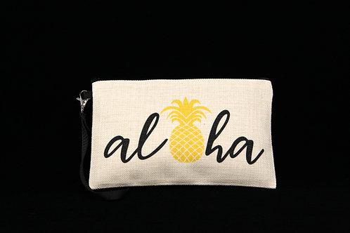 "Pineapple Aloha || Large Linen Zippered Pouch - 6"" x 9.5"""