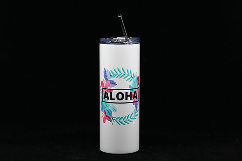 Aloha Flower Lei | Hot & Cold Stainless Steel Tumbler - 20oz. | Metal Straw