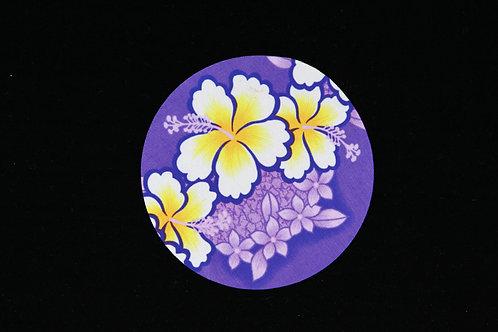 "Purple Yellow Tropical Hibiscus Flowers - Jar Opener - 5""Round - Black Backing"