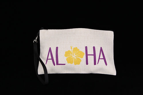 "Aloha Hibiscus Flower || Large Linen Zippered Pouch - 6"" x 9.5"""