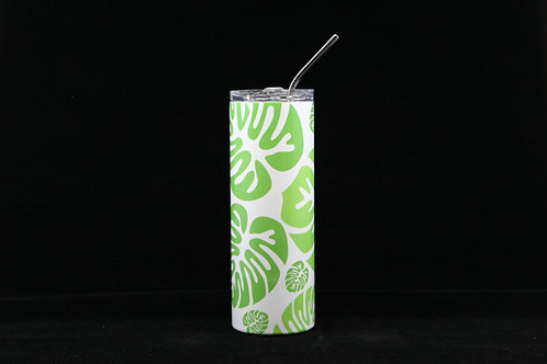 Green Monstera Leaves | Hot & Cold Stainless Steel Tumbler - 20oz. w/Metal Straw