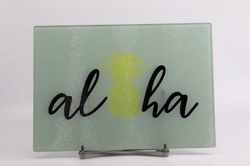 "Aloha Pineapple - Glass Cutting Board - Small - 11"" x 8"""