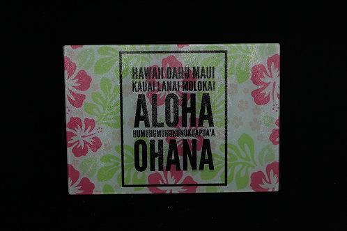 "Hawaiian Names w/Colorful Hibiscus || Glass Cutting Board || Small || 11"" x 8"""