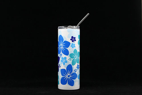 Blue Hawaiian Hibiscus F|oral Hot & Cold Stainless Steel Tumbler - 20oz. w/Metal