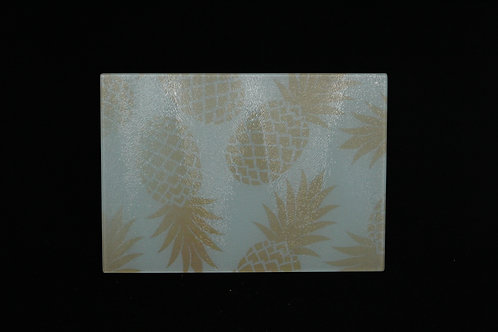 """Dancing Pineapples Patterned    Glass Cutting Board    Small    11"""" x 8"""""""