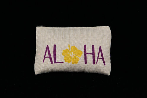 "Aloha Hibiscus || Small Linen Zippered Pouch, 3.5"" x 6"""