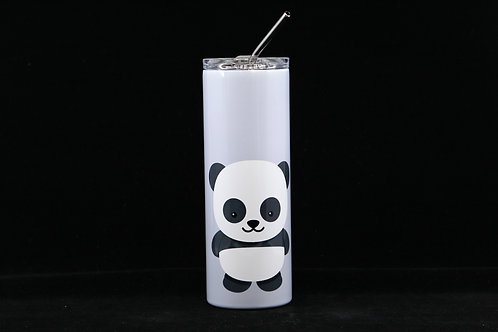Cute Panda Bear | Hot & Cold Stainless Steel Tumbler - 20oz. w/Metal Straw