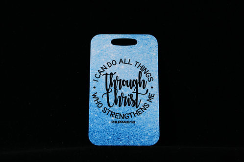 """""""I Can Do All Things"""" Aluminum Bag Tag w/Loop 