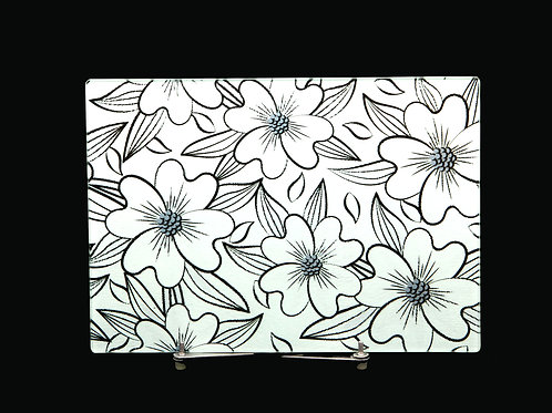 "Dogwood Flower Pattern - Glass Cutting Board - Small - 11"" x 8"""