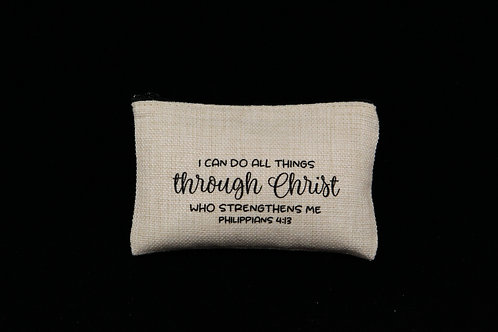 "I Can Do All Things Through Christ || Small Linen Zipper Pouch, 3.5"" x 6"""
