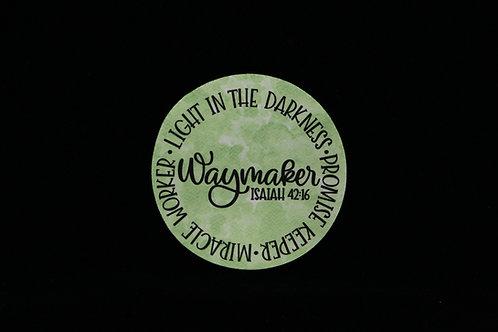 """Waymaker - Isaiah 42:16 - Miracle Worker  - Jar Opener - 5""""Round - Black"""