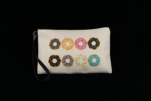 "Donuts Variety Pattern || Large Linen Zippered Pouch - 6"" x 9.5"""