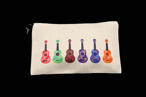 "Colorful Ukeleles || Large Linen Zippered Pouch - 6"" x 9.5"""