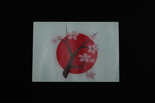 "Japanese Cherry Blossom Rising Sun || Glass Cutting Board || Small || 11"" x 8"""