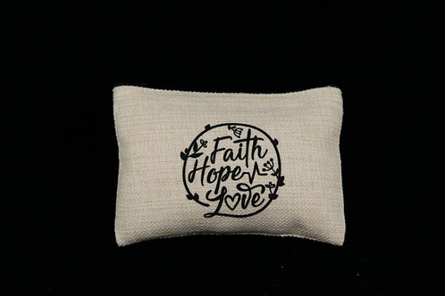 "Faith Hope Love || Small Linen Zippered Pouch, 3.5"" x 6"""