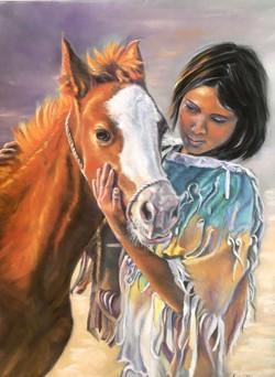 la petite indienne et son poney