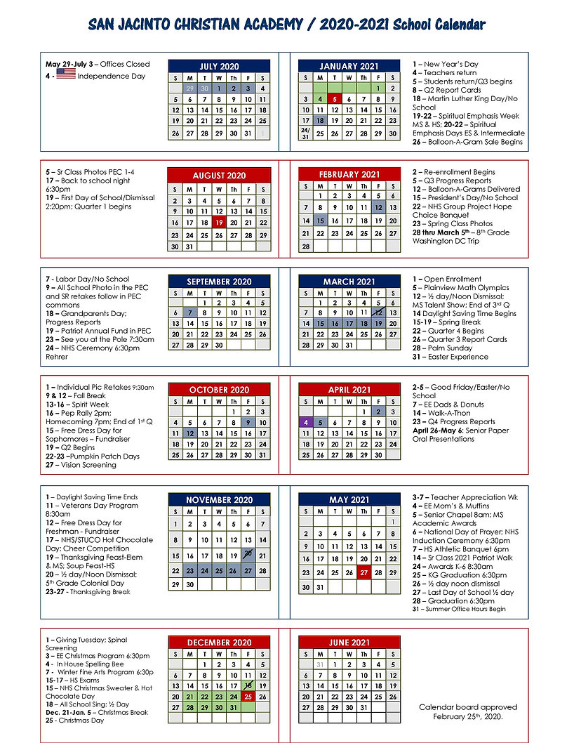 SJCA One Page Calendar 2020-2021 - Appro