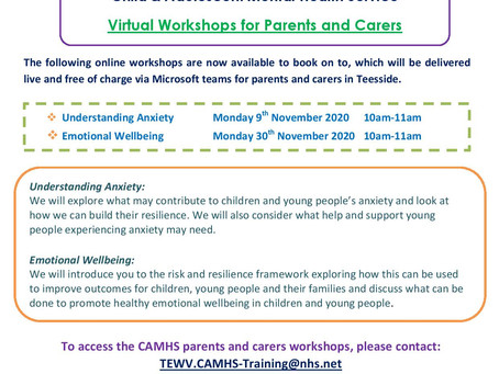 CAMHS Parents & Carers Virtual Workshops