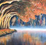 misty lake landscape