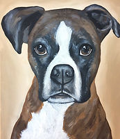 custom hand painted pet portrait North Carolina female artist