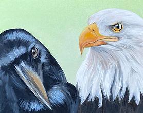 Magic Vision Crow and Bald Eagle paintin