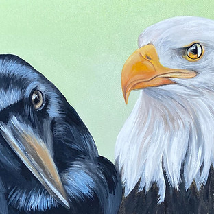 Magic Vision Crow and Bald Eagle paintin