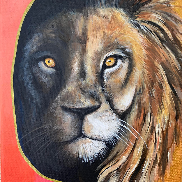 lion painting gold amy yeager.jpg