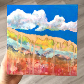 abstract sky clouds mountains painting a