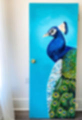 door peacock painting interior decor Wak