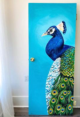 door peacock painting interior decor Wak