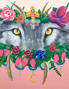 she wolf painting head crown floral .jpg