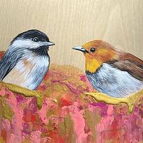 Birdie Conversation on wood board.jpg