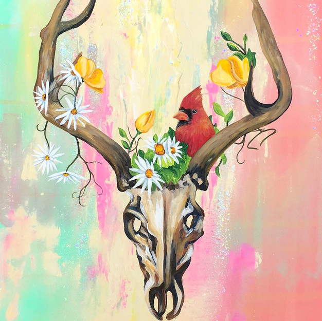 Antlers With Flowers and Cardinal AYJ.jp
