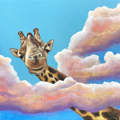 giraffe painting high in the sky clouds.