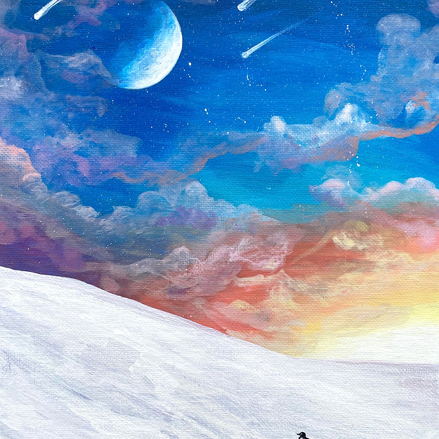 print Penguin's Ascension painting by Am