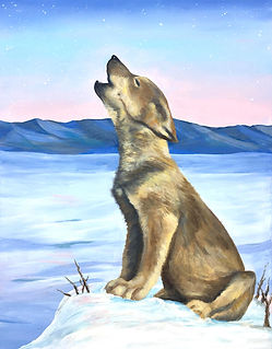 Wolf Pup Howl painting Amy Yeager Jorge.
