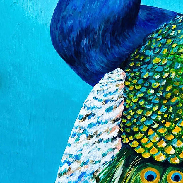 cropped door peacock painting interior d