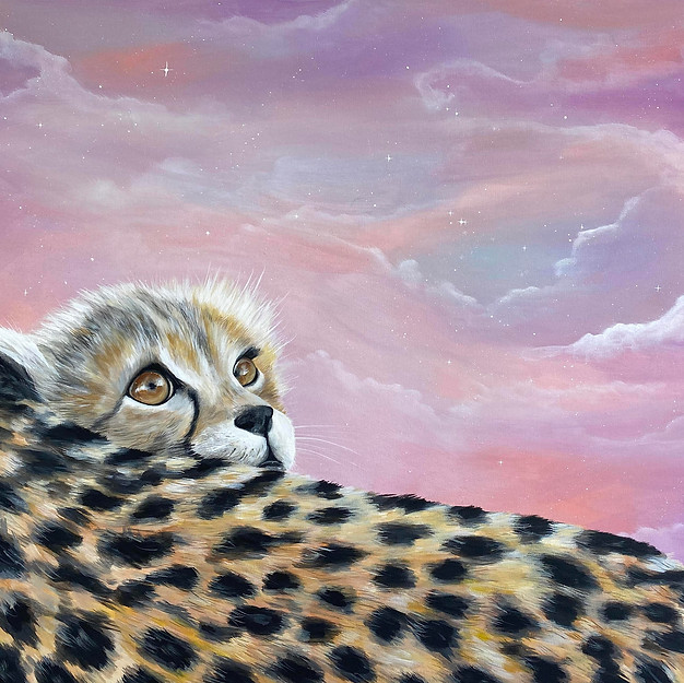 Baby cheetah universe painting amy yeage