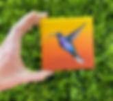 hummingbird painting mini tiny canvas Am
