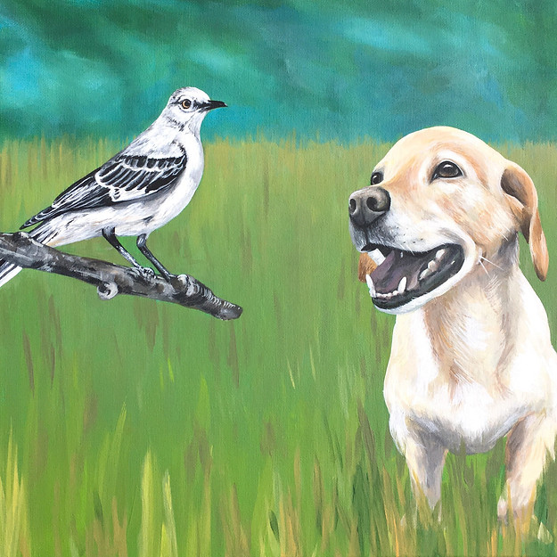 Custom Pet Portrait with Mockingbird